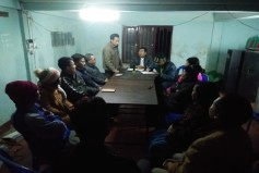Aung Din's team discusses how to implement relief work
